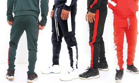 Men's Slim-Fit Striped Cargo Jogger Track Pants