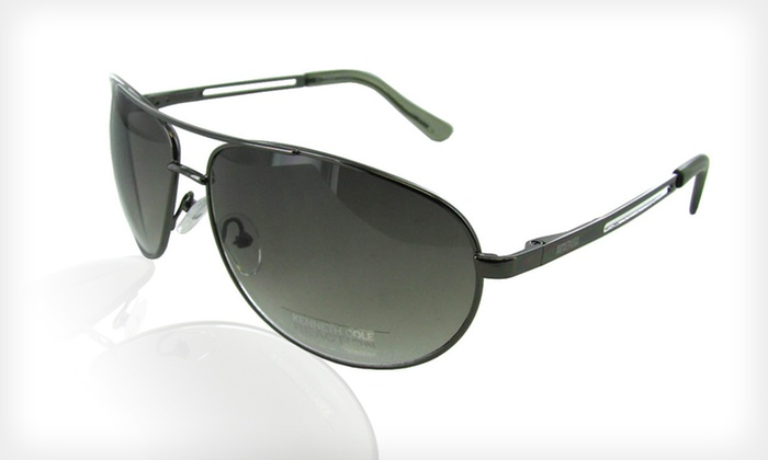 Kenneth Cole Reaction Aviator Sunglasses: $13 for One Pair of Kenneth Cole Reaction Unisex Aviator Metal Sunglasses in Gunmetal Smoke ($90 List Price)