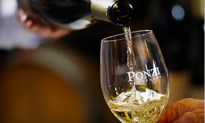 Ponzi Vineyards - Multiple Locations: Wine Tasting for Two or Four at Ponzi Vineyards (Half Off)