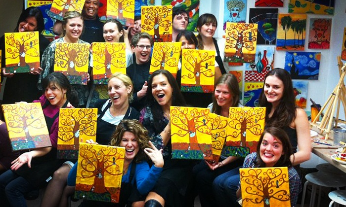 Byob canvas painting class art plus studio groupon for Canvas painting classes