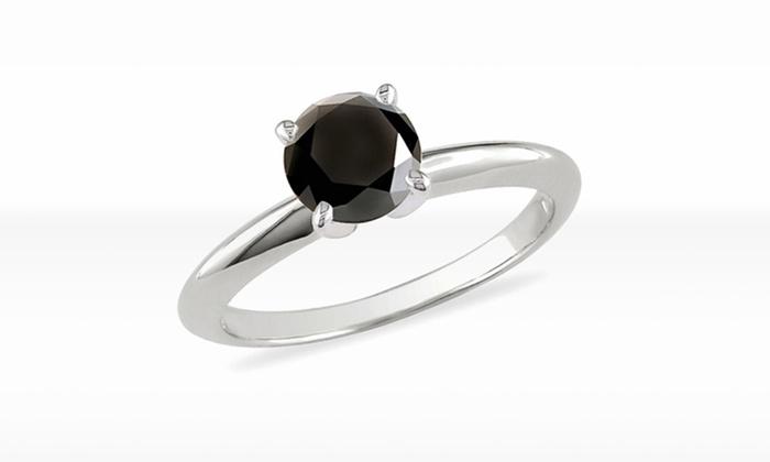 1 CTW Black Diamond Solitaire Ring in 14K White Gold: 1 CTW Black Diamond Solitaire Ring in 14K White Gold (Size 7). Free Returns.