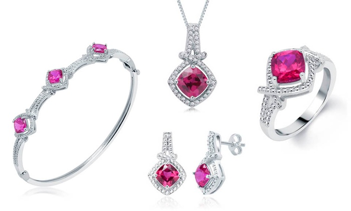 Gemstone Necklace, Bracelet, Earrings, and Ring Set: Gemstone and Diamond-Accented Necklace, Bracelet, Earrings, and Ring Set. Multiple Styles Available. Free Returns.