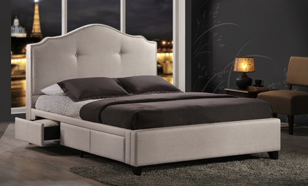Armeena Modern Storage Bed with Upholstered Headboard from $529.99–$619.99