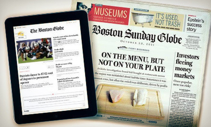 "The Boston Globe: $32 for a 22-Week Sunday Paper Subscription with Online Access from ""The Boston Globe"" ($88 Value)"