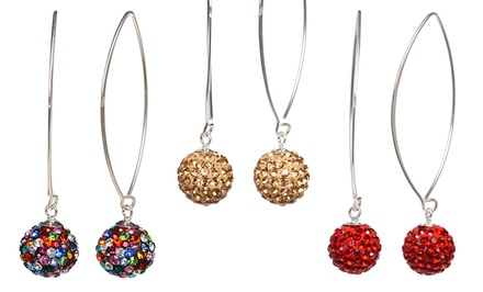 Sterling Silver Swarovski Elements Dangling Ball Earrings. Multiple Options Available. Free Returns.