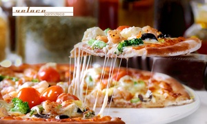 Veloce Paninoteca: Waterside Pizza Lunch with Bottle of Wine for Two ($29) or Four People ($55) at Veloce Paninoteca (Up to $128 Value)