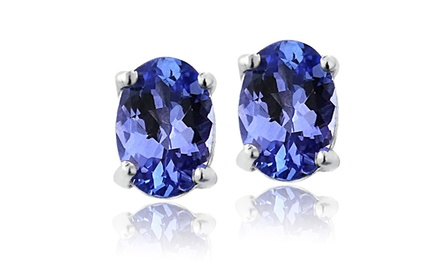 Genuine 6x4mm Oval Tanzanite Stud Earrings in Sterling SIlver