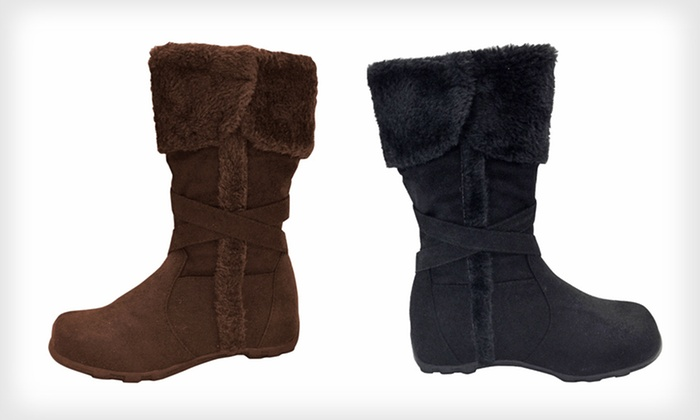Kids' Faux-Suede Boots with Faux Fur: $19 for Carrini Kids' Faux-Suede Riding Boots ($40 List Price). 16 Options Available. Free Shipping and Free Returns.