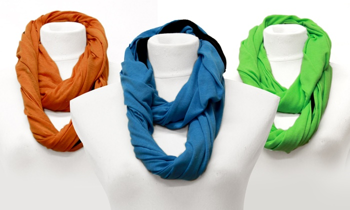Two-Tone Infinity Knit Scarf: Two-Tone Infinity Knit Scarf. Multiple Colors Available. Free Returns.
