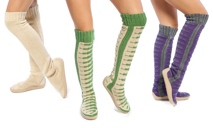 Women's Piano-Patterned and Solid Sweater Boots: Women's 18-Inch or 26-Inch Piano-Patterned Sweater Boot or 26-Inch Solid Sweater Boot. Multiple Colors Available.