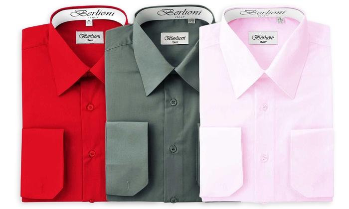 Berlioni Men's Convertible-Cuff Dress Shirts: Berlioni Men's Convertible-Cuff Dress Shirts