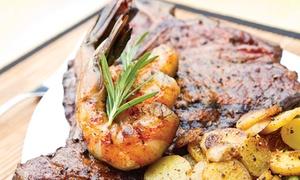Aberdeen Steak House: Surf and Turf: 20oz TBone Steak and Prawns for two at Aberdeen Steak House (59% Off)