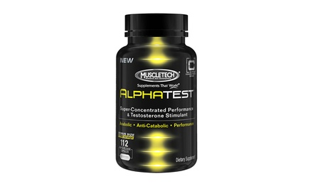 Bottle of MuscleTech AlphaTest Testosterone Booster