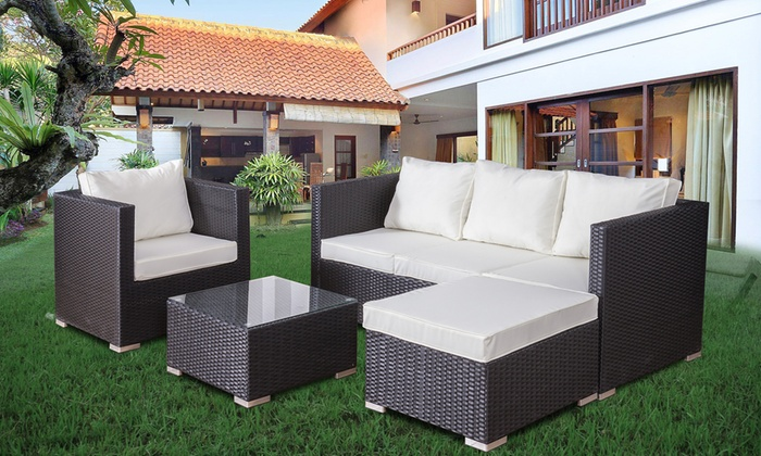 Four-Piece PE Rattan Sofa Set