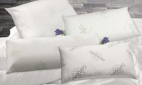 Packs de 4 almohadas Newconfort de fibra hueca siliconada, visco copos con aloe vera, lavanda o carbono