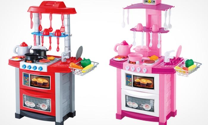 Children s kitchen play set groupon goods 23 for Kitchen set groupon