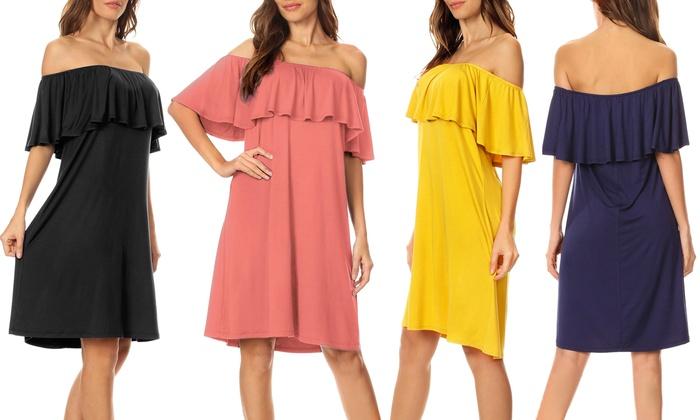Women's Off-the-Shoulder Ruffle Overlay Shift Dress