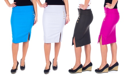 Women's Classic Side Slit Pencil Skirt