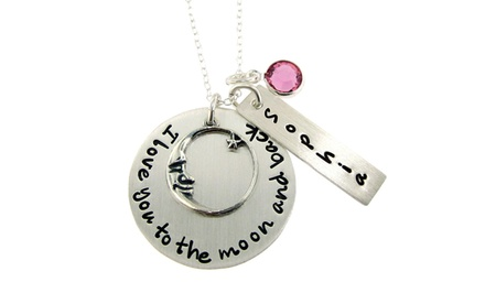 I Love You to the Moon and Back Custom Sterling Silver Necklace with Charm, Nameplate, and Birthstone from Hannah Design