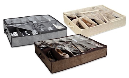 12-Pair Under-Bed Shoe Organizer. Multiple Styles Available. Free Returns.