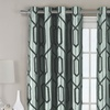 One Pair of Faux-Silk, Flocked Grommet Panel Curtains