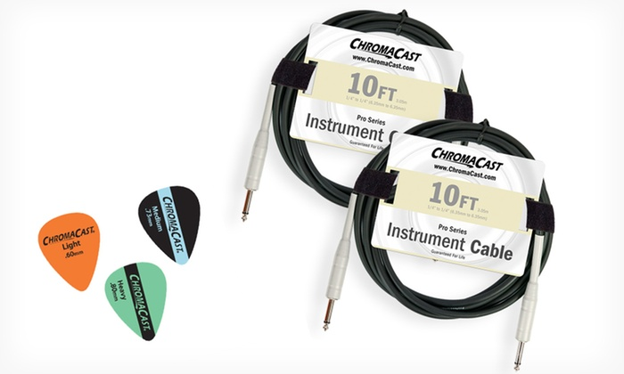 ChromaCast 10 Ft. Instrument Cable 2-Pack with Picks: ChromaCast Pro 10 Ft. Instrument Cable 2-Pack with Pick Sampler Pack. Free Returns.