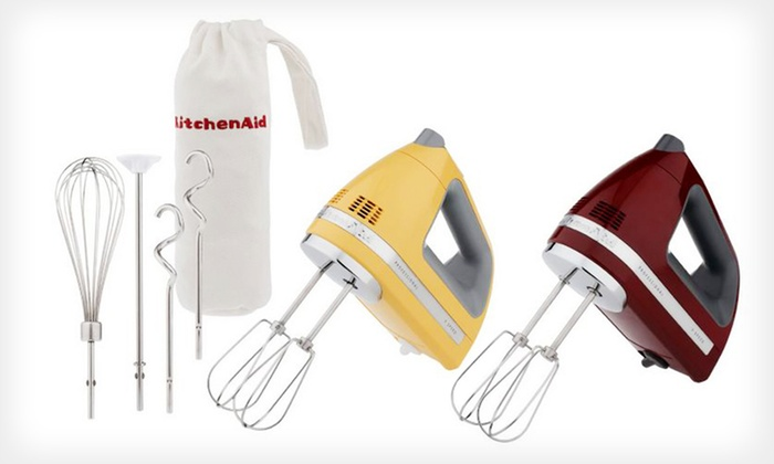KitchenAid 9-Speed Hand Mixer: $54.99 for a KitchenAid 9-Speed Hand Mixer ($99.99 List Price). Two Colors Available. Free Shipping and Returns.