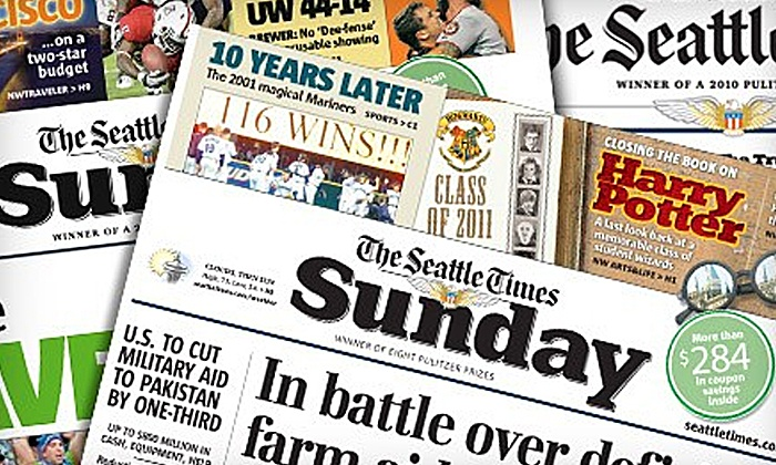 """The Seattle Times"" - Pacific Northwest: 26- or 52-Week Sunday Print Subscription with 7-Day Digital Access to ""The Seattle Times"" (Up to 86% Off)"