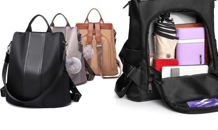 Anti-Theft Pom-Pom Backpack