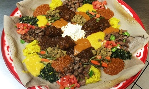 Ethiopian Cuisine And Drink At Mahider Ethiopian Restaurant & Market (up To 42% Off). Two Options Available.