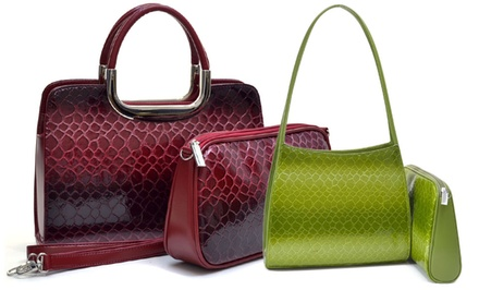 Dasein Snakeskin-Embossed Wallets and Handbags
