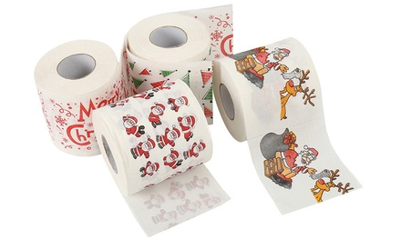 Up to Four Rolls of Christmas Print Toilet Paper