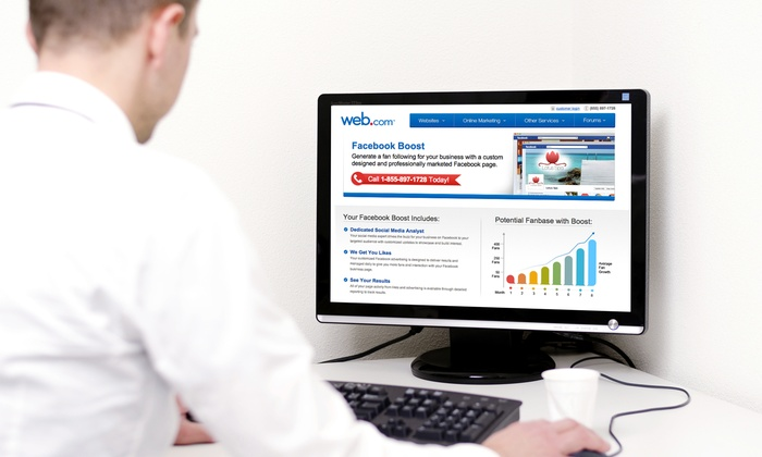 Web.com: Website Audit and SEO Assessment or Facebook Boost Service from Web.com (Up to 68% Off)