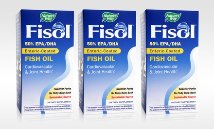 Buy 1 Get 2 Free: Fisol Fish Oil 180-Softgel Bottles + 5% Back in Groupon Bucks