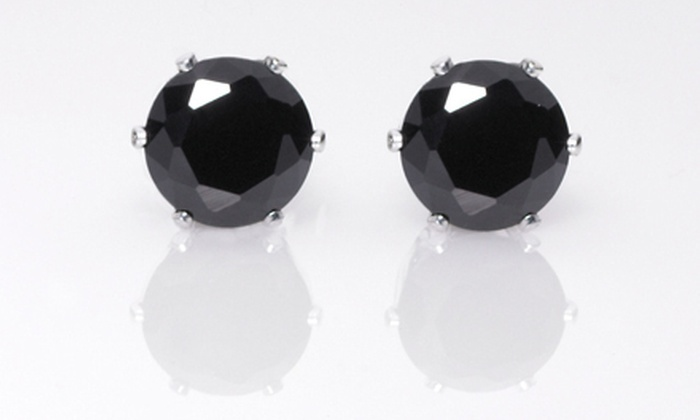 Black Cubic-Zirconia Stud Earrings: Pair of 2- or 8-Carat Black Cubic-Zirconia Stud Earrings ($89.99 List Price). Free Shipping.