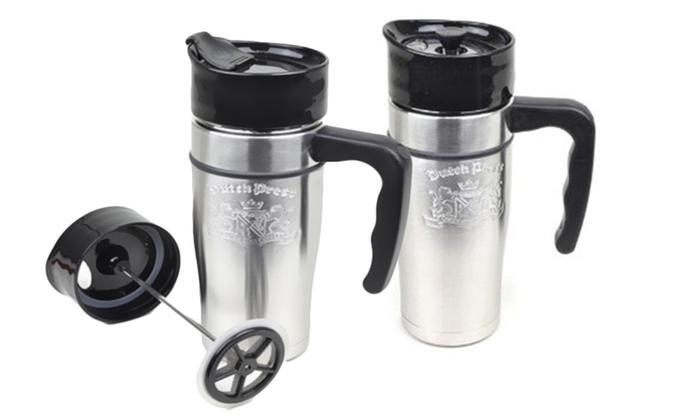 Set of 2 French Press Travel Mugs: Set of 2 French Press Travel Mugs. Free Returns.