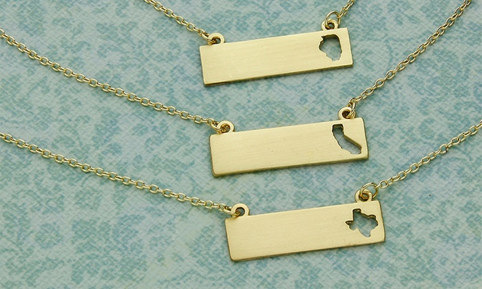 Bar necklaces with state outline groupon goods gold plated bar pendant necklaces with state outline cutouts aloadofball Images