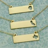 Gold-Plated Bar Pendant Necklaces with State Outline Cutouts