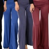 Lyss Loo Women's Fold-Over Palazzo Flare Pants. Plus Sizes Available.