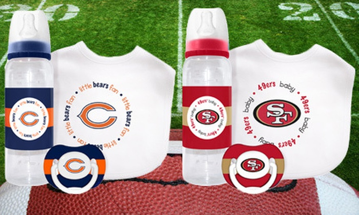 NFL Baby Essentials Gift Set: $12 for an NFL Baby Essentials Gift Set Including a Bib, Pacifier, and Bottle ($24.95 List Price). 23 Teams Available.