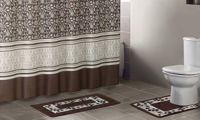 15 Piece Bathroom Set With Two Bath Mats