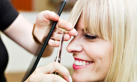 Haircut with Optional Highlights or Full Color or Keratin Treatment at Studio Beauty (Up to 55% Off)