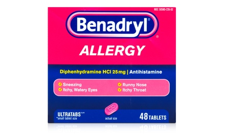Benadryl Ultratab Allergy Medicine; 6-Pack of 48-Count Boxes + 5% back in Groupon Bucks.