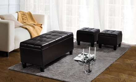 Dover 3-Piece Tufted Storage-Ottoman Set