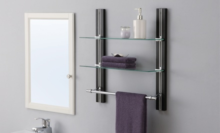 Neu Home Two-Tier Glass Shelf with Towel Bar