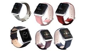 Waloo Crocodile-Leather Apple Watch Band Series 1, 2, 3, & 4 (2-Pack)