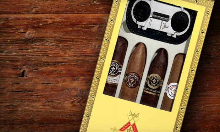 Tinder Box Charlotte - SouthPark,Barclay Downs: $49 for a Montecristo Relief Cigar-Sampler Box with Samurai Cutter at Tinder Box Charlotte ($104.25 Value)