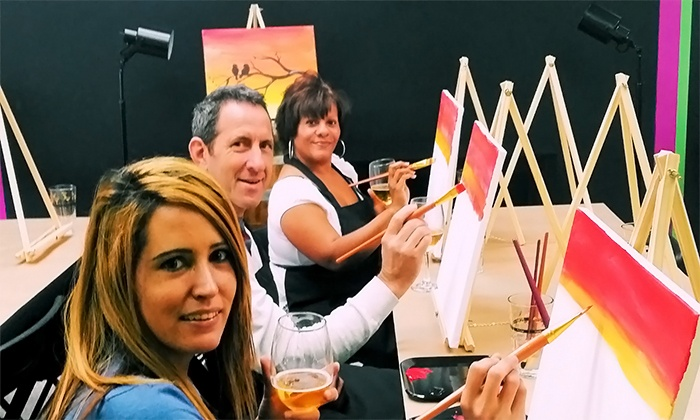 Artzaholic - Artzaholic: Painting Class with Wine for One, Two, or Four at Artzaholic (Up to 58% Off)