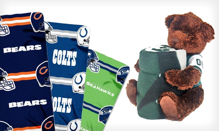 NFL Hugger Bear and Matching Throw: $22 for an NFL Hugger Bear and Fleece Throw ($29.99 List Price). 30 Options Available. Free Shipping and Free Returns.
