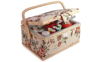 Classic Sewing Basket with Sewing Kit